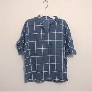 Tops - Grid patterned top